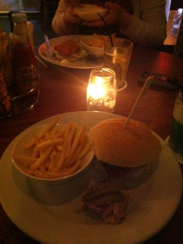And a burger and chips