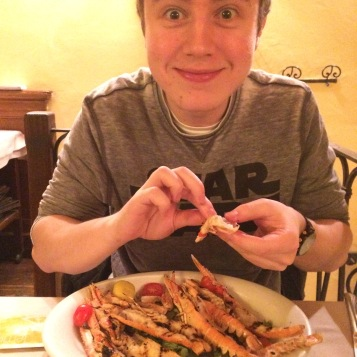 A happy Calum with his langoustines