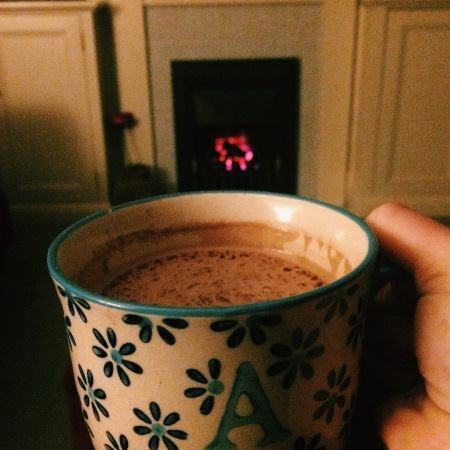 Hot chocolate in front of the fire
