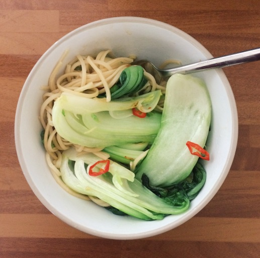 Food on the go, work, lunch, chilli ginger garlic noodles with pak choi and spring onions nigellaeatseverything.com