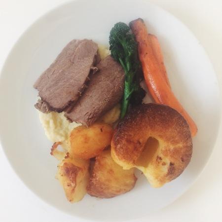 Birthday roast beef yorkshire pudding roast potatoes parsnip puree carrots purple sprouting broccoli