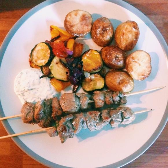 lamb kebabs with potatoes roasted vegetables yoghurt and dill dip nigellaeatseverything.com