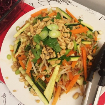 carrot, courgette, beansprout salad with peanuts