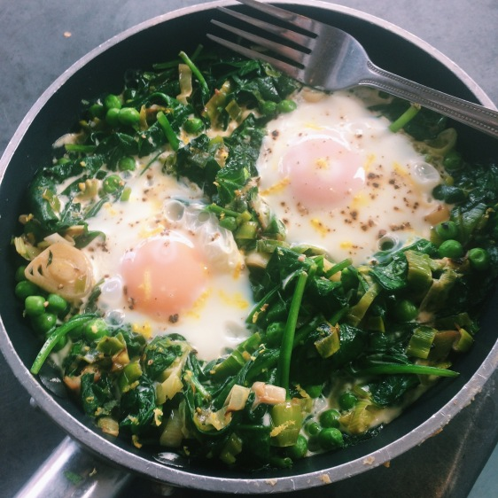 spring baked eggs with feta yoghurt