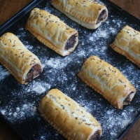 Prune and fennel sausage rolls